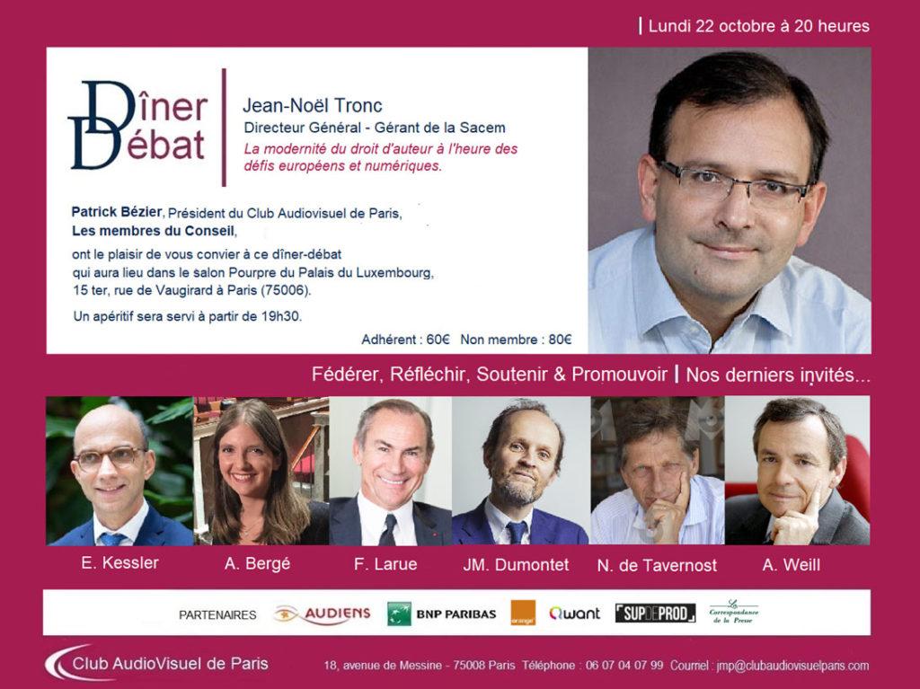 Diner débat Jean-Noël Tronc