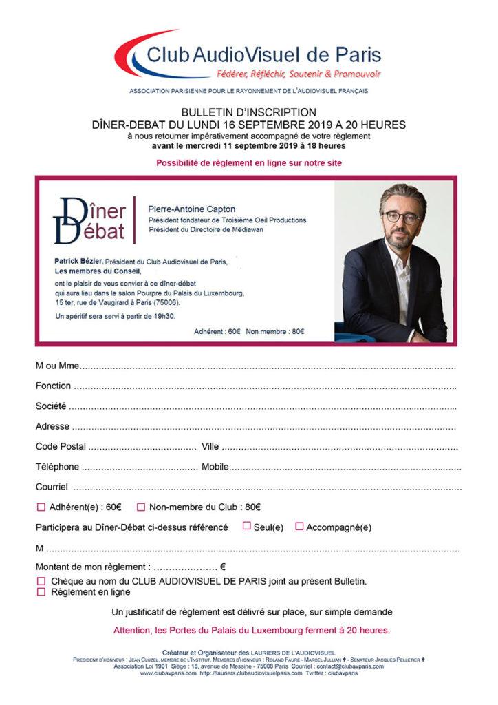 Bulletin Dîner Débat Pierre-Antoine Capton